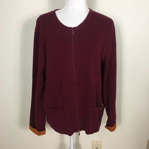 Eileen Fisher Cranberry with Orange Zip Up Sweater